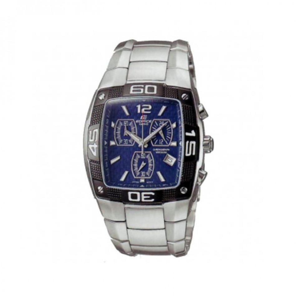 Мъжки часовник Casio Edifice сребрист браслет с правоъгълен циферблат с черен кант EF515D2AVDF