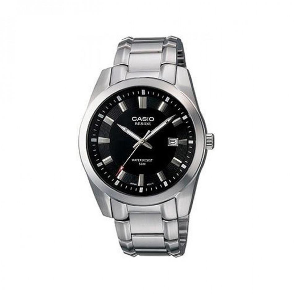 Мъжки часовник Casio Beside сребрист браслет с черен циферблат BEM116D1AVEF