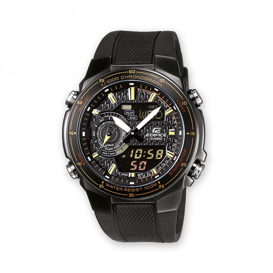 Мъжки часовник Casio Edifice черен с оранжеви надписи EFA131PB1AVEF
