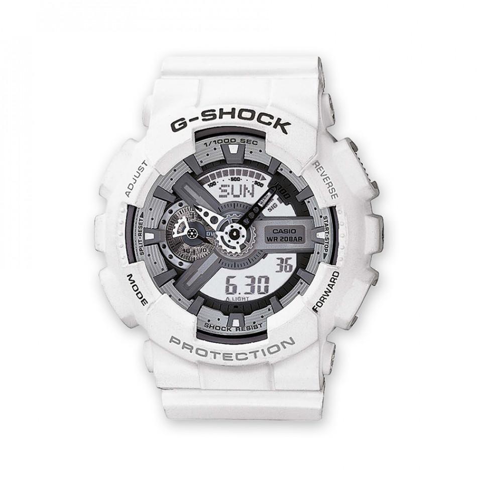 Мъжки спортен часовник Casio G-SHOCK бял със сиво-бял дисплей GA110C7AER