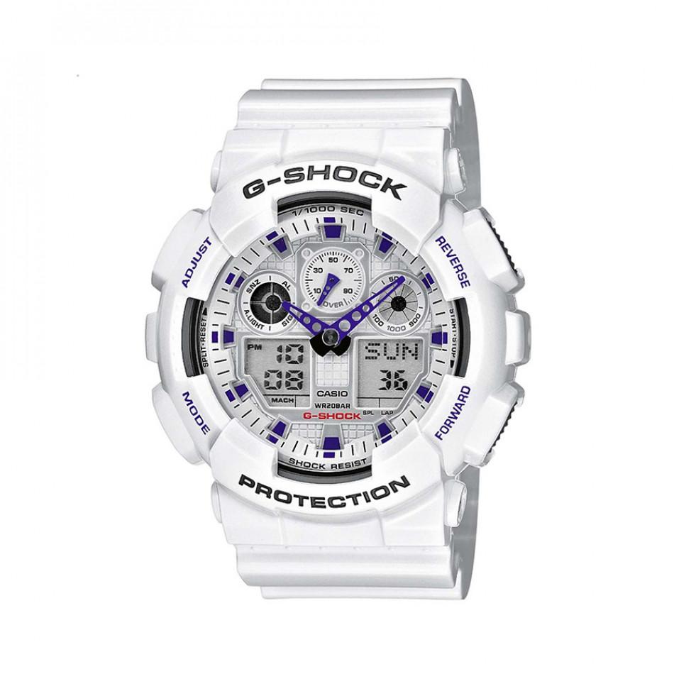 Мъжки спортен часовник Casio G-SHOCK бял с лилави детайли GA100A7AER