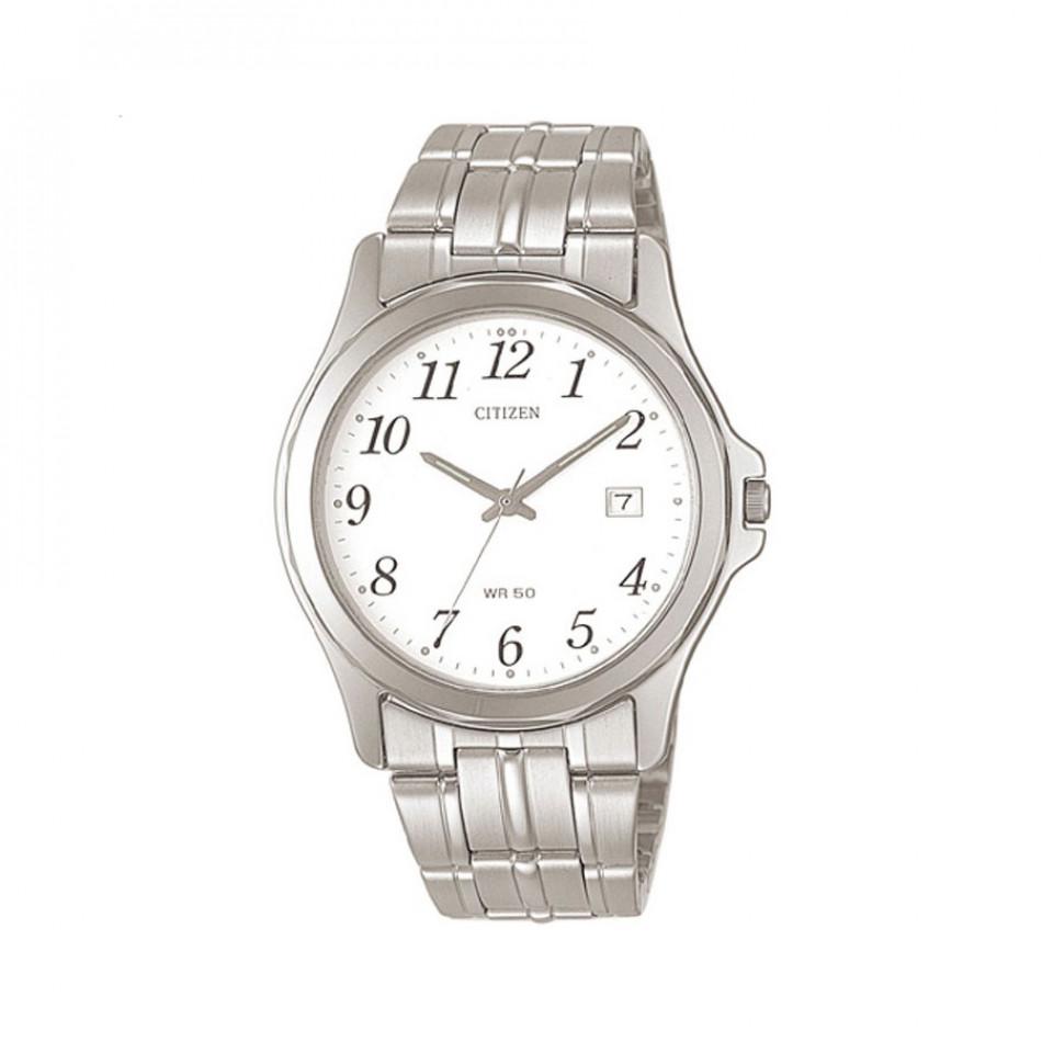 Мъжки часовник Citizen сребрист браслет с бял циферблат BI0740 53A
