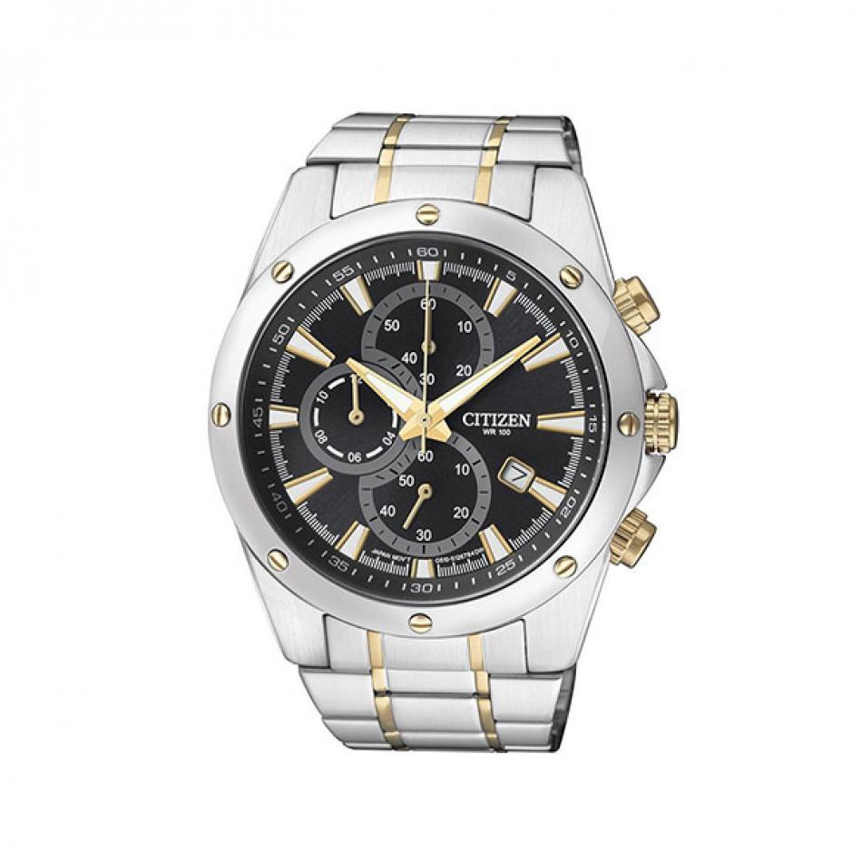 Мъжки часовник Citizen сребрист браслет със златисти детайли AN3534 51E