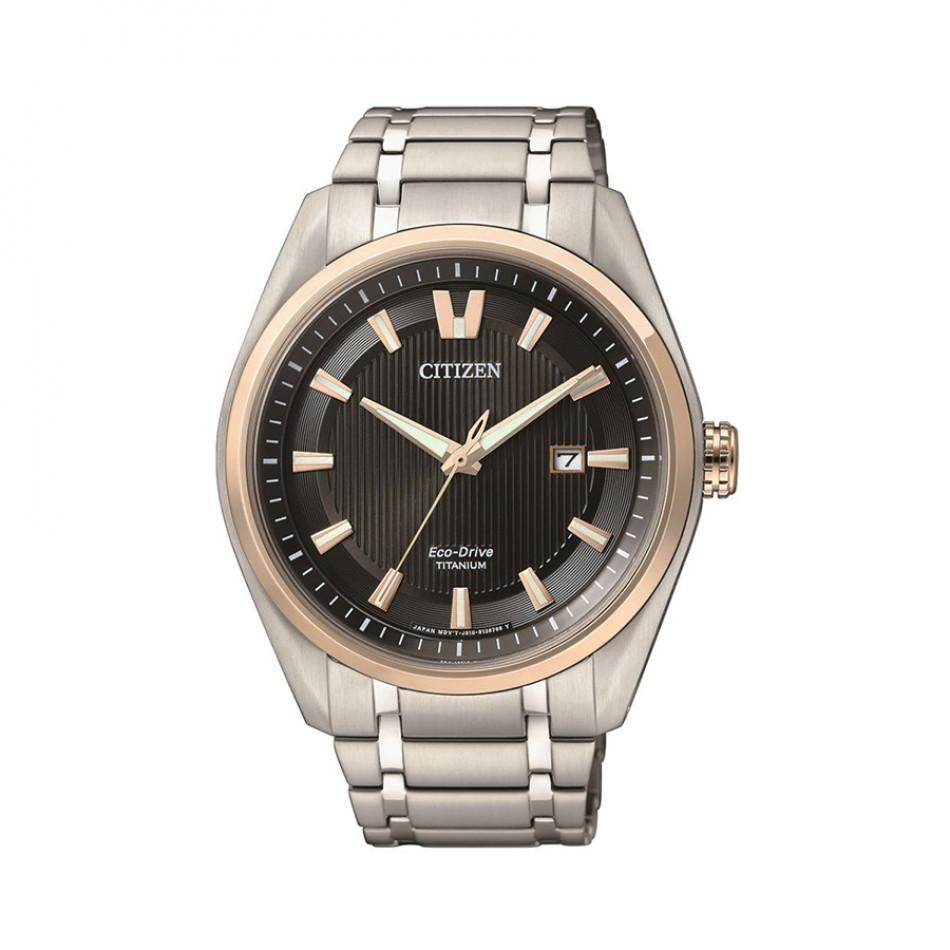 Мъжки часовник Citizen титаниев браслет с черен циферблат AW1244 56E