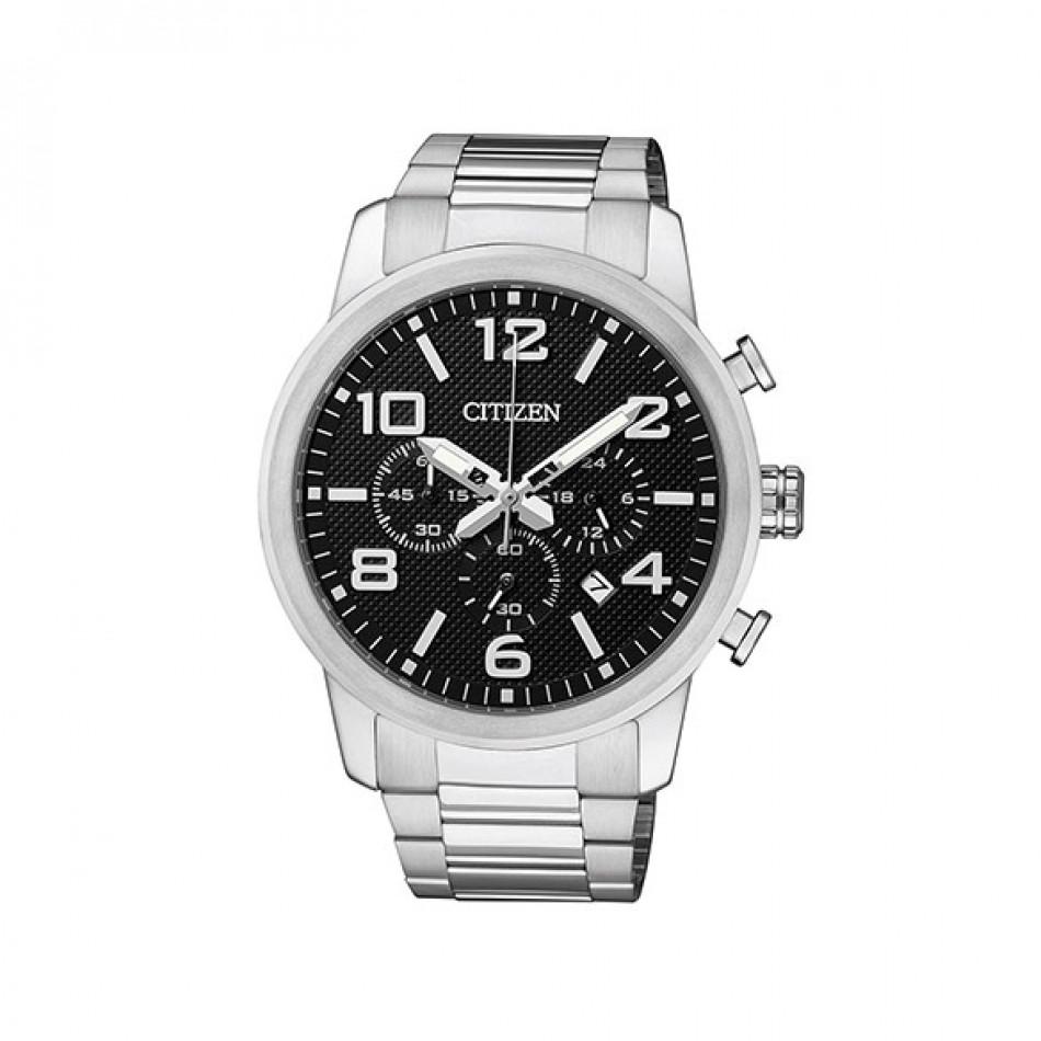 Мъжки часовник Citizen сребрист браслет с черен циферблат AN8050 51E