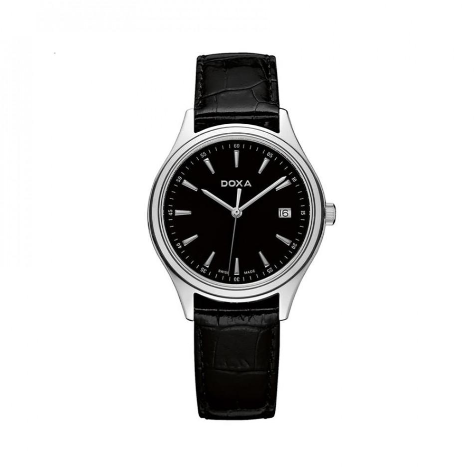 Мъжки часовник DOXA Tradition с черна каишка и черен циферблат 2111010101