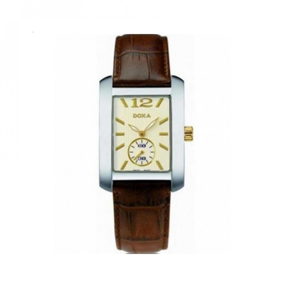 Мъжки часовник DOXA Square с кафява каишка от естествена кожа 2432003302