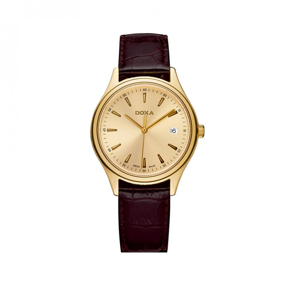 Мъжки часовник DOXA Tradition с жълта позлата и кафява каишка 2113030102