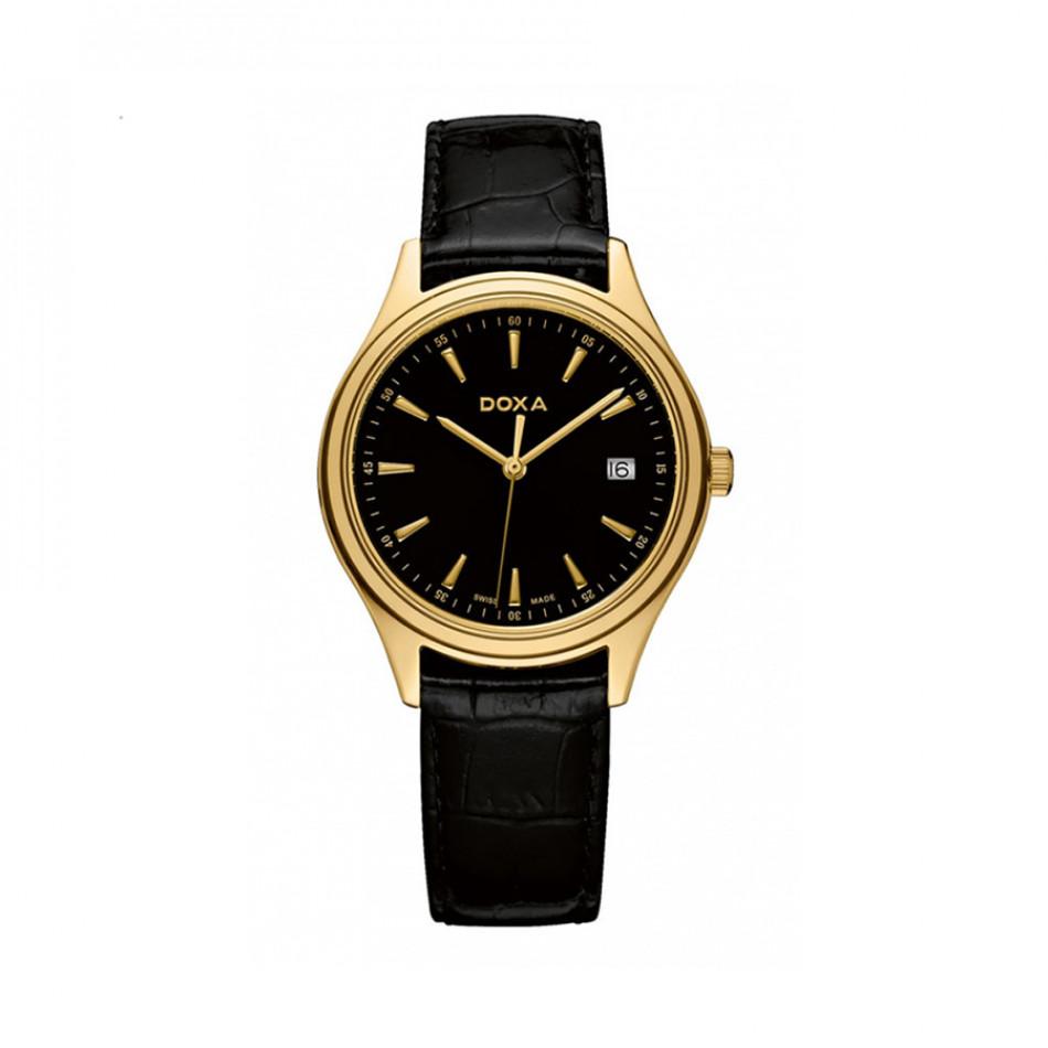 Мъжки часовник DOXA Tradition черен с жълта позлата на касата 2113010101