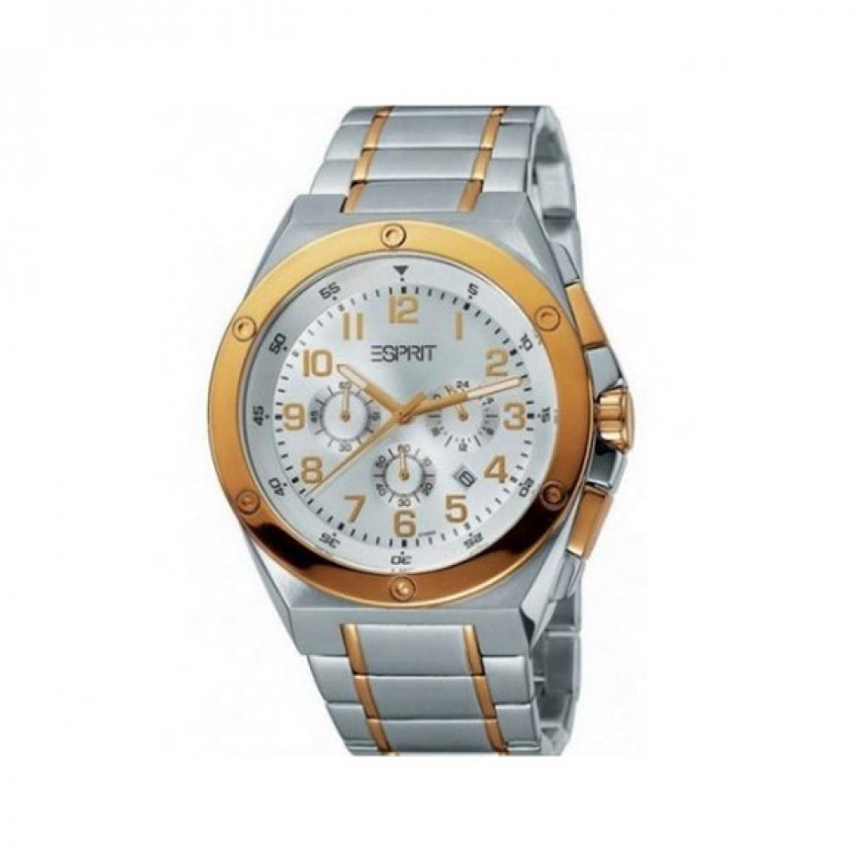 Мъжки часовник Esprit сребрист браслет със златисти детайли ES101981006