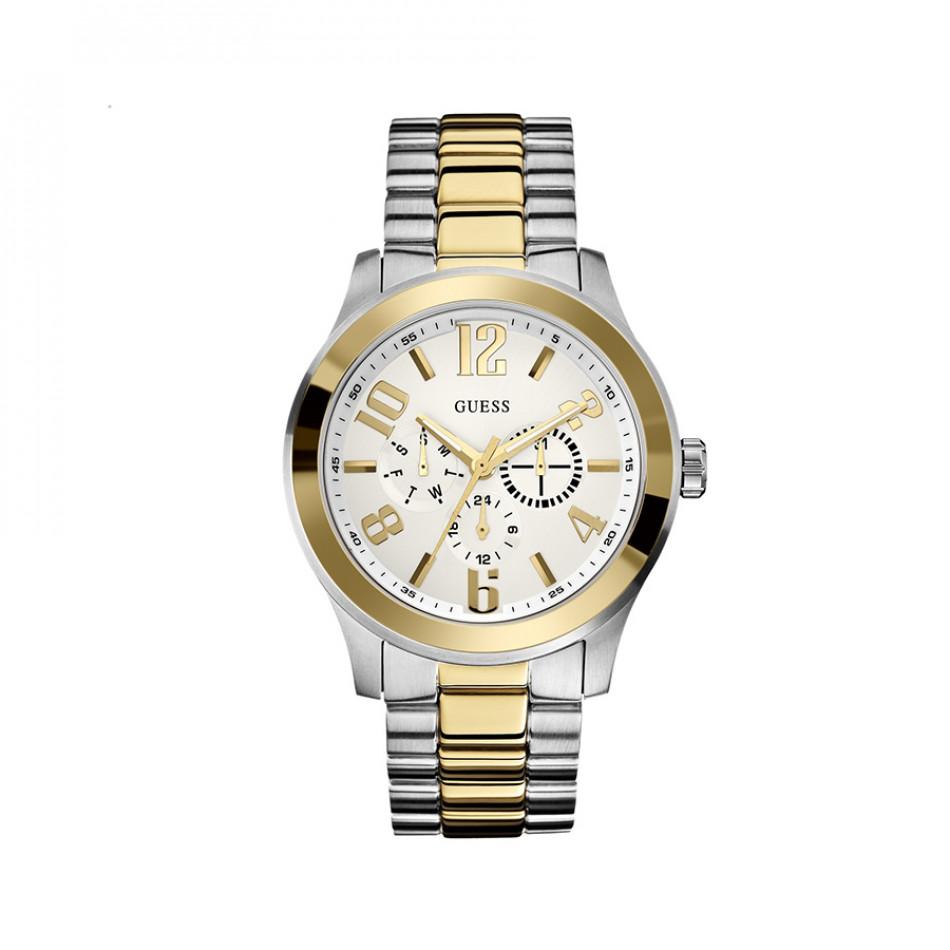 Мъжки часовник Guess браслет в сребристо и златисто W0007G2