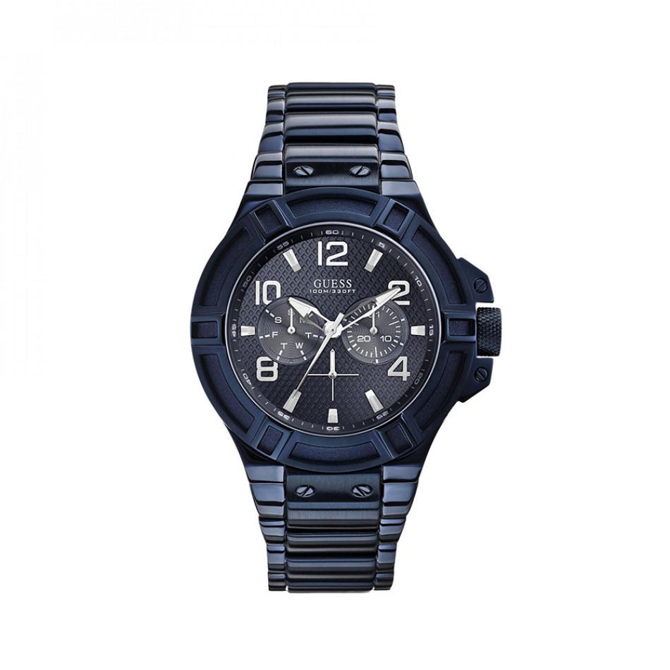 Мъжки часовник Guess син браслет W0218G4
