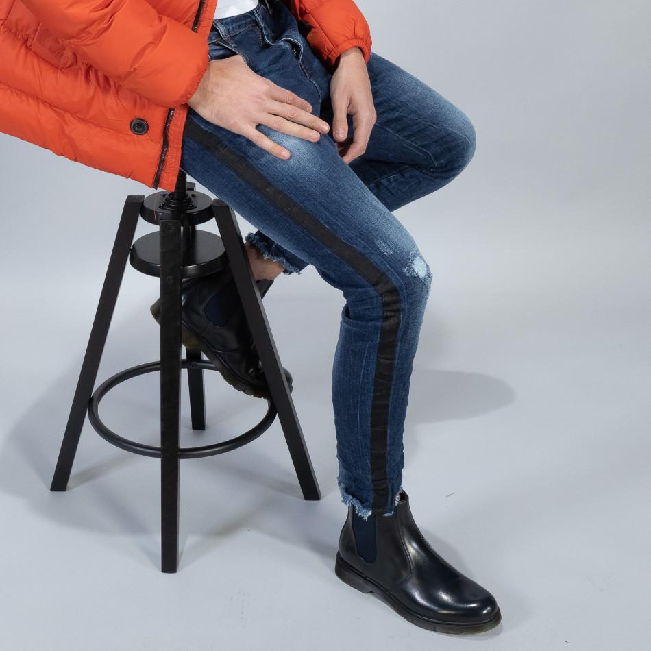 Намачкани сини дънки с черен кант it051218-14
