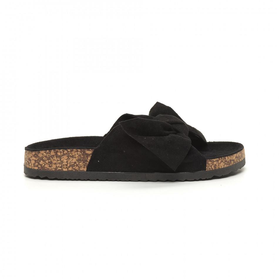 Черни дамски чехли с панделка it050619-45