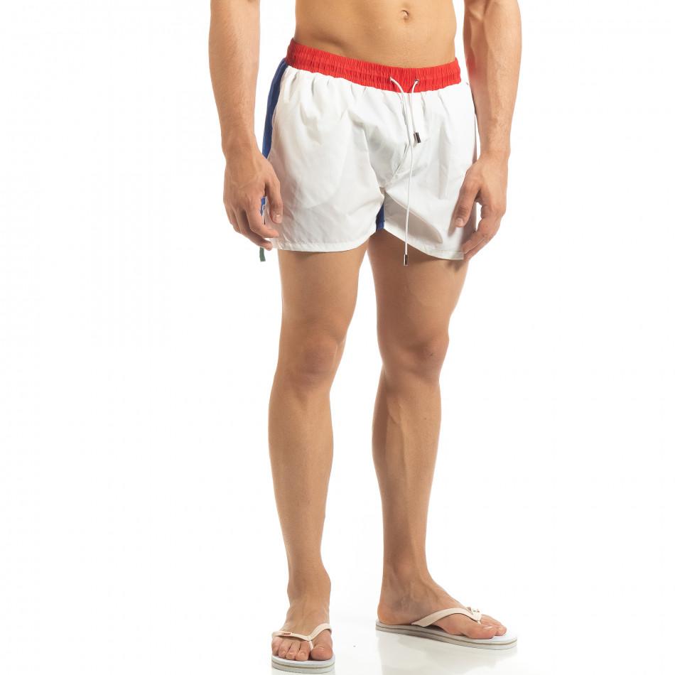 Мъжки бяло-син бански с червен ластик it230415-21