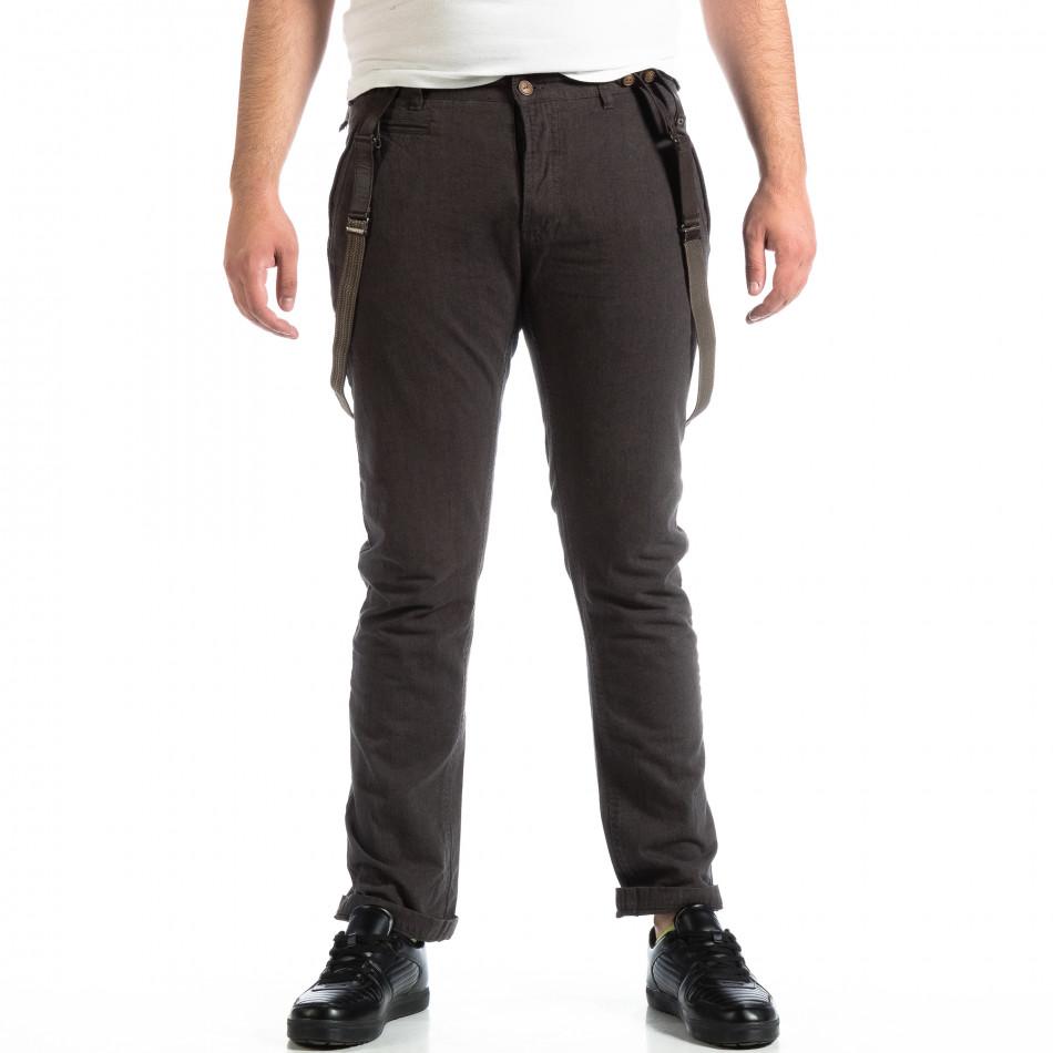 Мъжки сив панталон House с тиранти lp290918-168