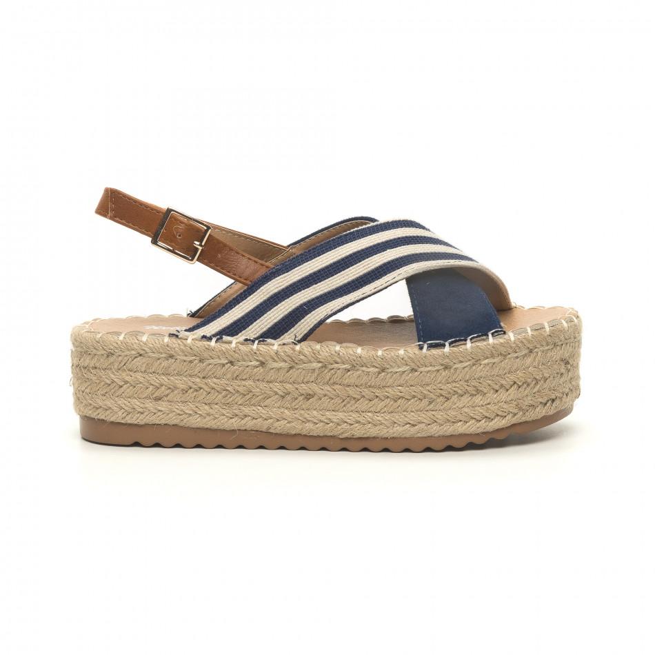 Дамски сини сандали тип еспадрили it050619-88