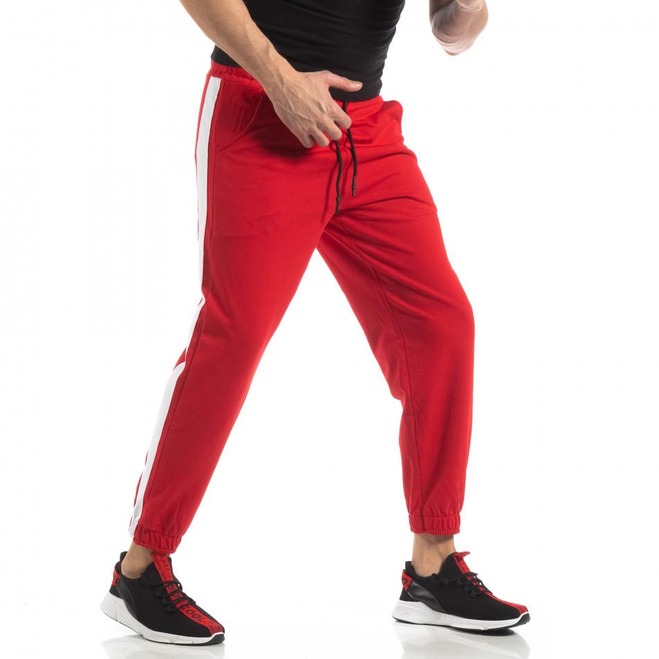 Мъжко червено долнище с кант it210319-54