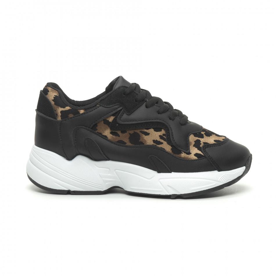 Дамски маратонки черно и леопард на висока подметка it230519-17