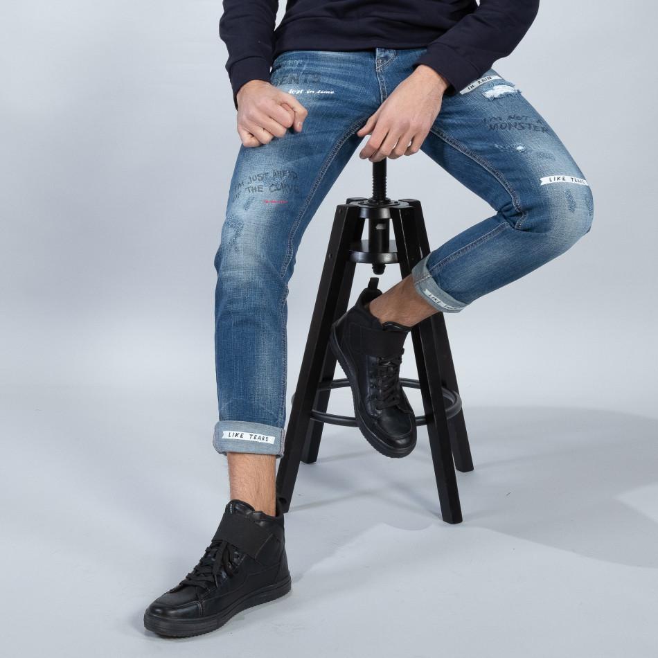 Мъжки сини дънки с принт и маншети it051218-7