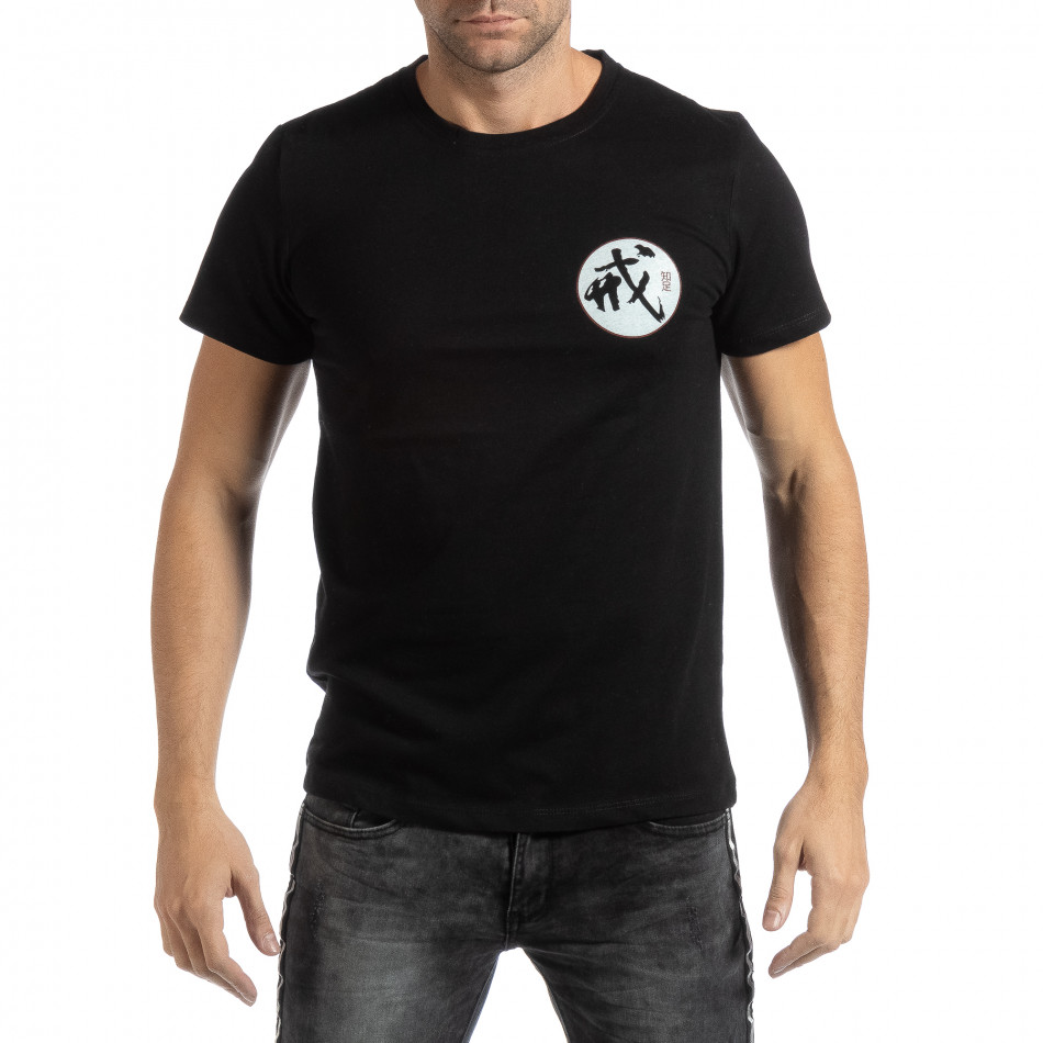 Мъжка черна тениска с източен мотив it261018-119