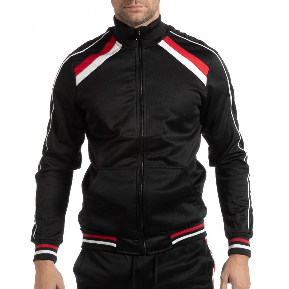 Черно мъжко горнище с бели и червени ивици it261018-79