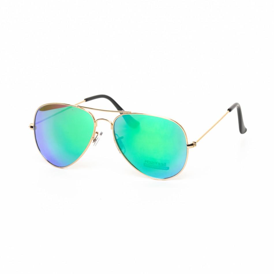 Огледални пилотски слънчеви очила в синьо-зелено it030519-4