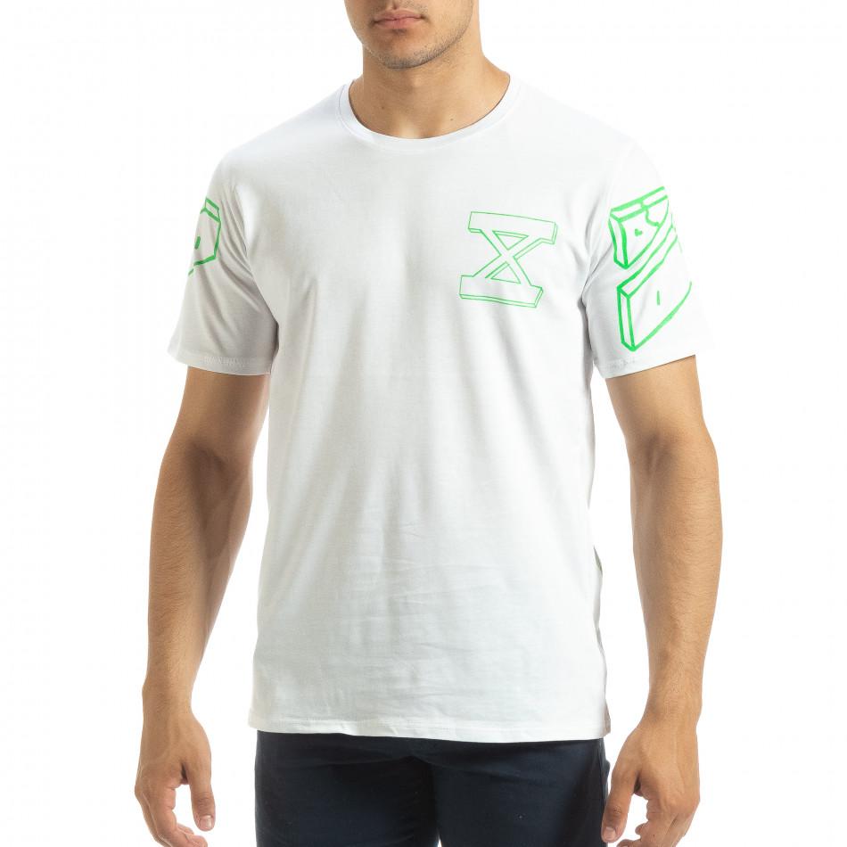 Бяла мъжка тениска зелен принт на гърба it120619-39