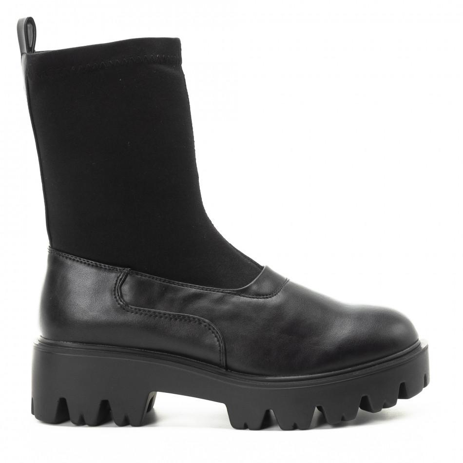 Дамски черни боти тип чорап с грайфери it301118-20