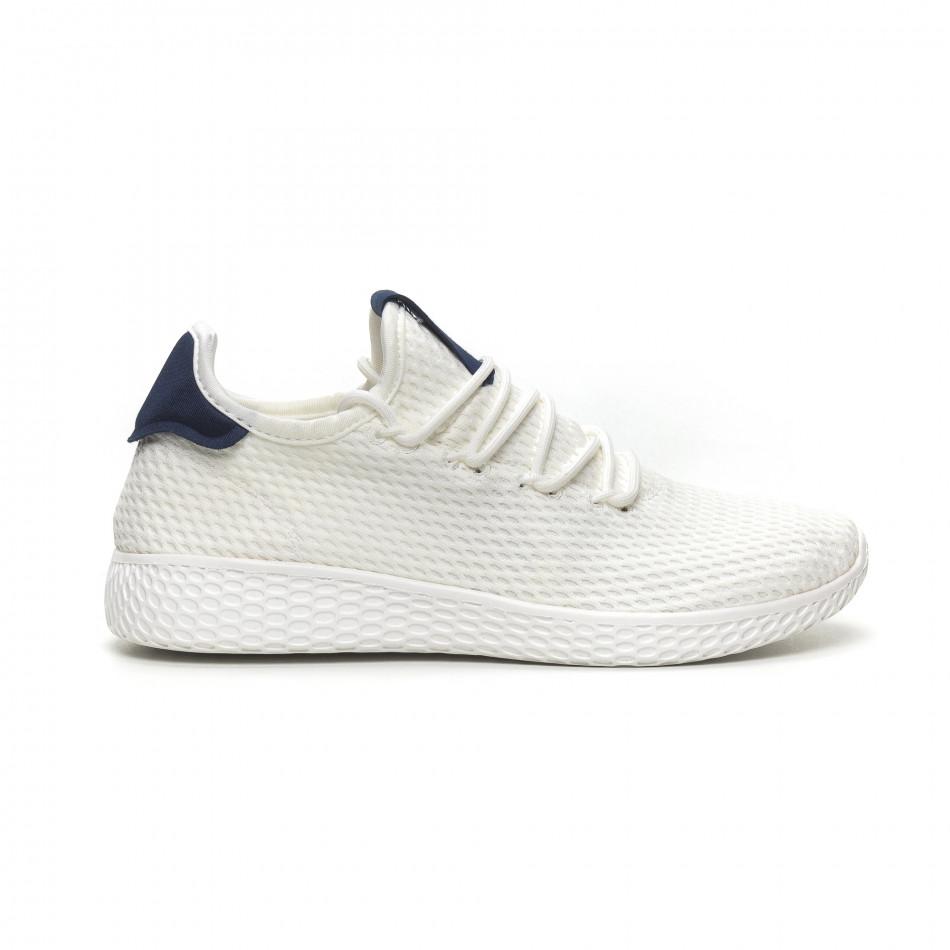 Мъжки бели леки маратонки синя пета it040619-5