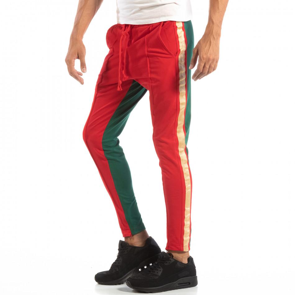 Мъжки Jogger в червено и зелено с кантове и ципове it240818-97