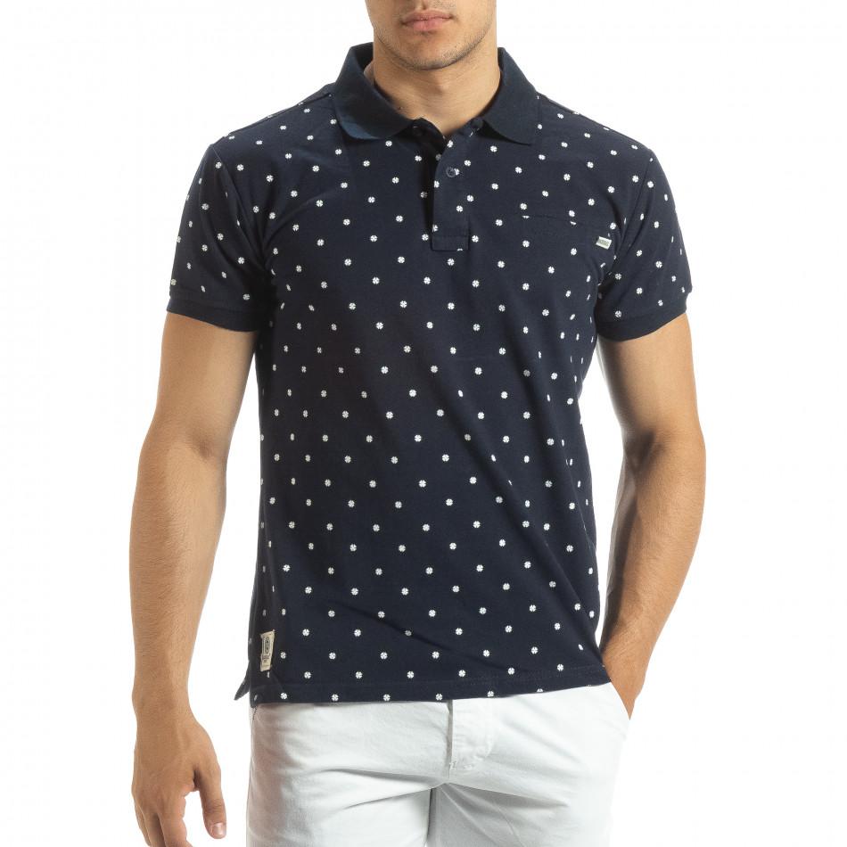 Мъжки син polo shirt Clover мотив it120619-34