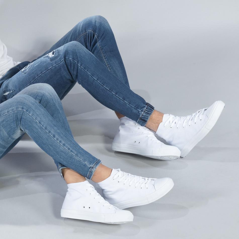 Високи бели кецове за двойки с класически дизайн cs-white-B341-B339