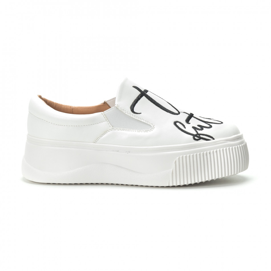 Slip-on бели дамски кецове с черен надпис it250119-42