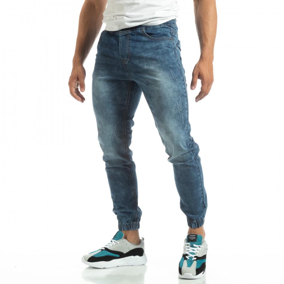 Мъжки тънки дънки тип Jogger в синьо it120619-1