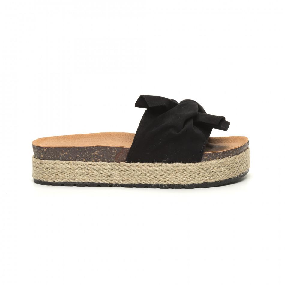 Черни дамски чехли с конопен кант it050619-22