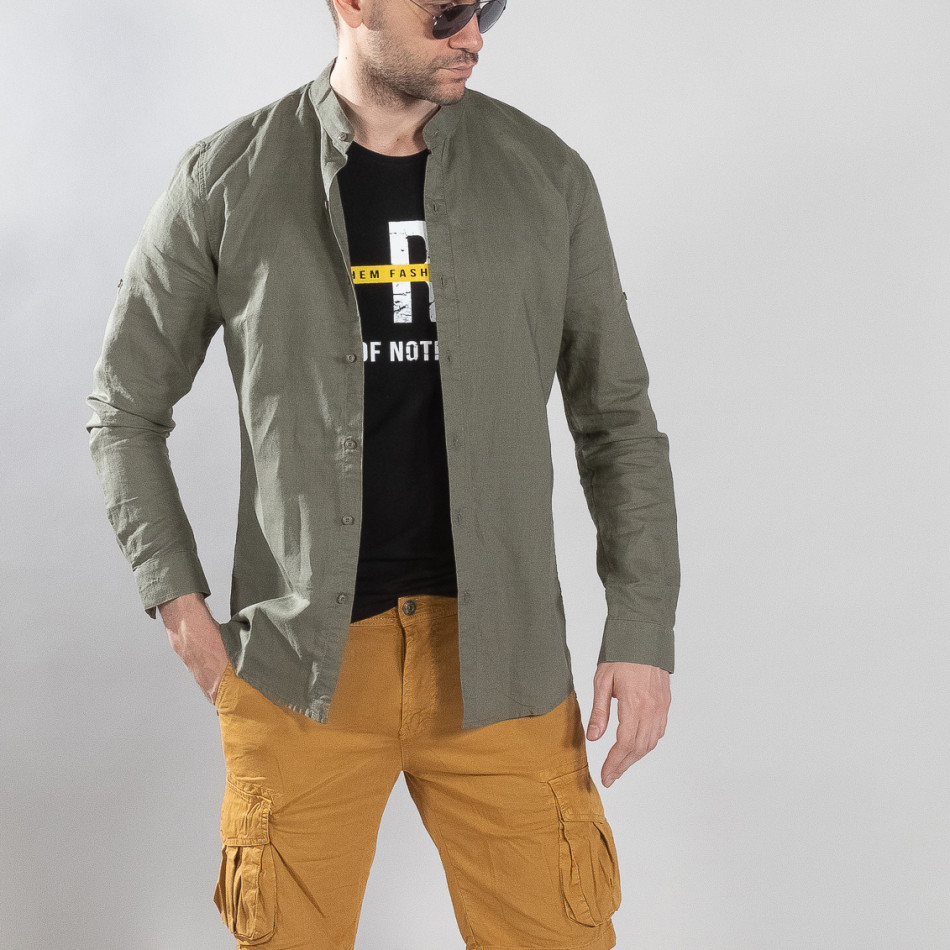 Мъжка риза от лен и памук в зелено it210319-102
