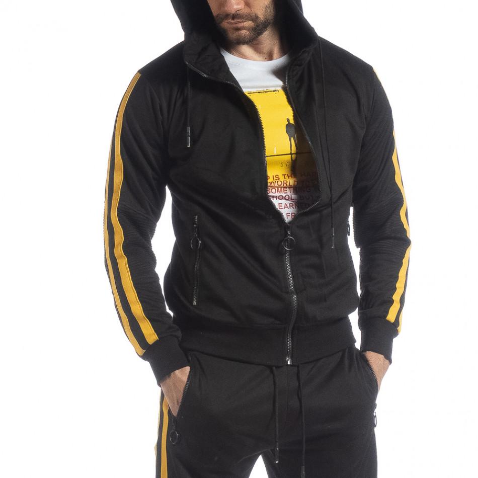 Черен мъжки Biker суичър жълт кант it040219-106