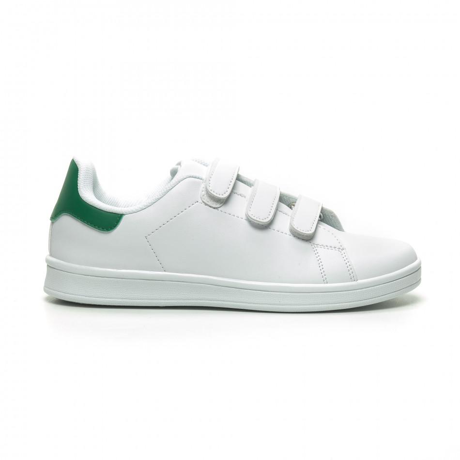 Бели мъжки кецове зелена пета и лепенки it230519-14