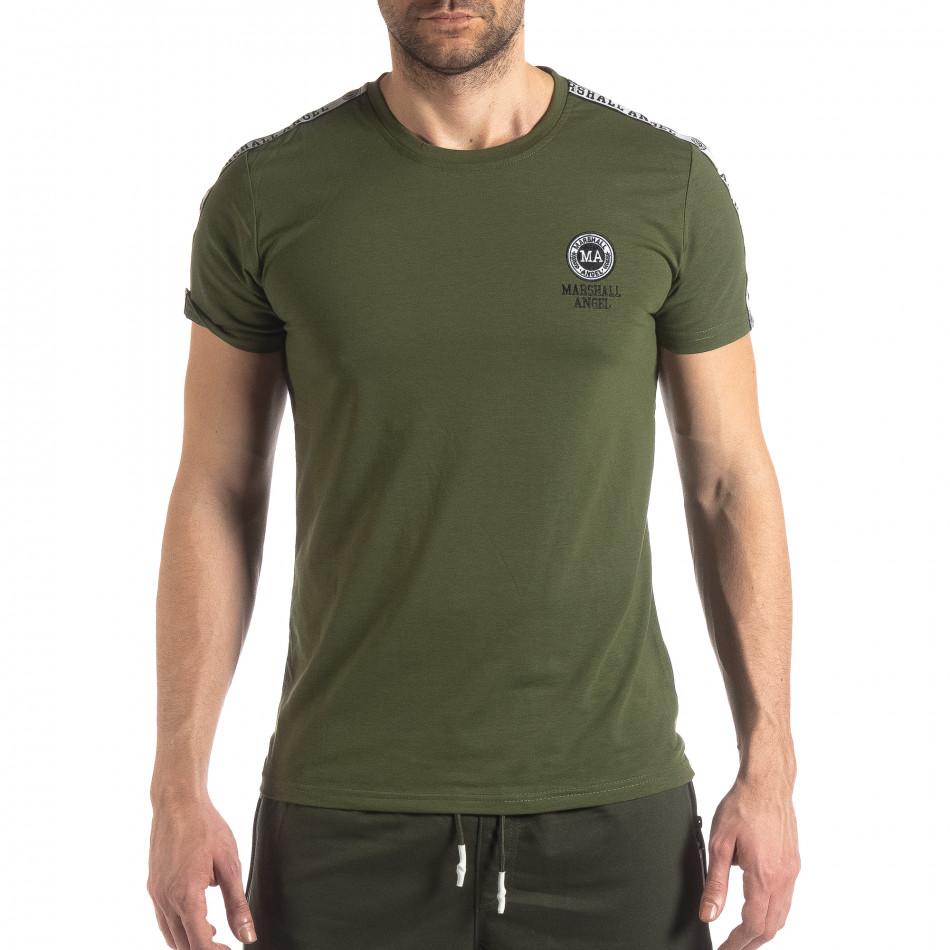 Зелена мъжка тениска с лого кант it210319-82