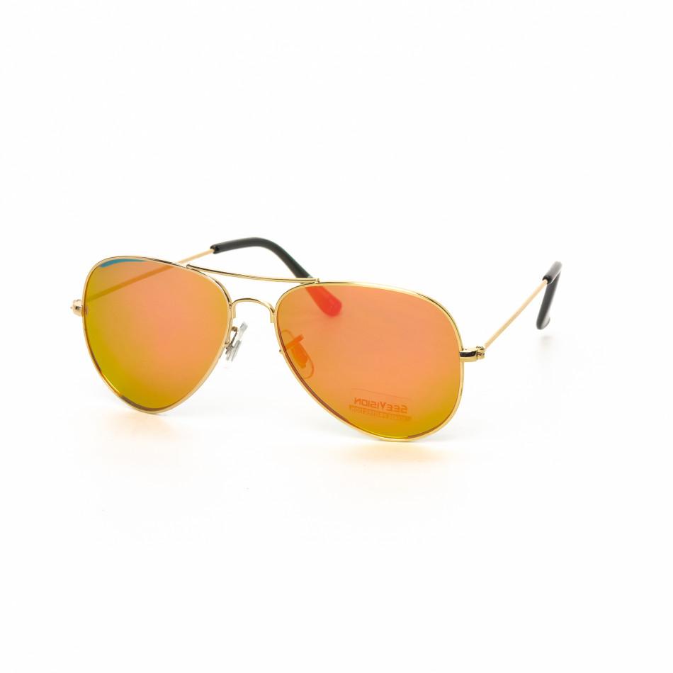 Огледални пилотски слънчеви очила в златисто розово it030519-2