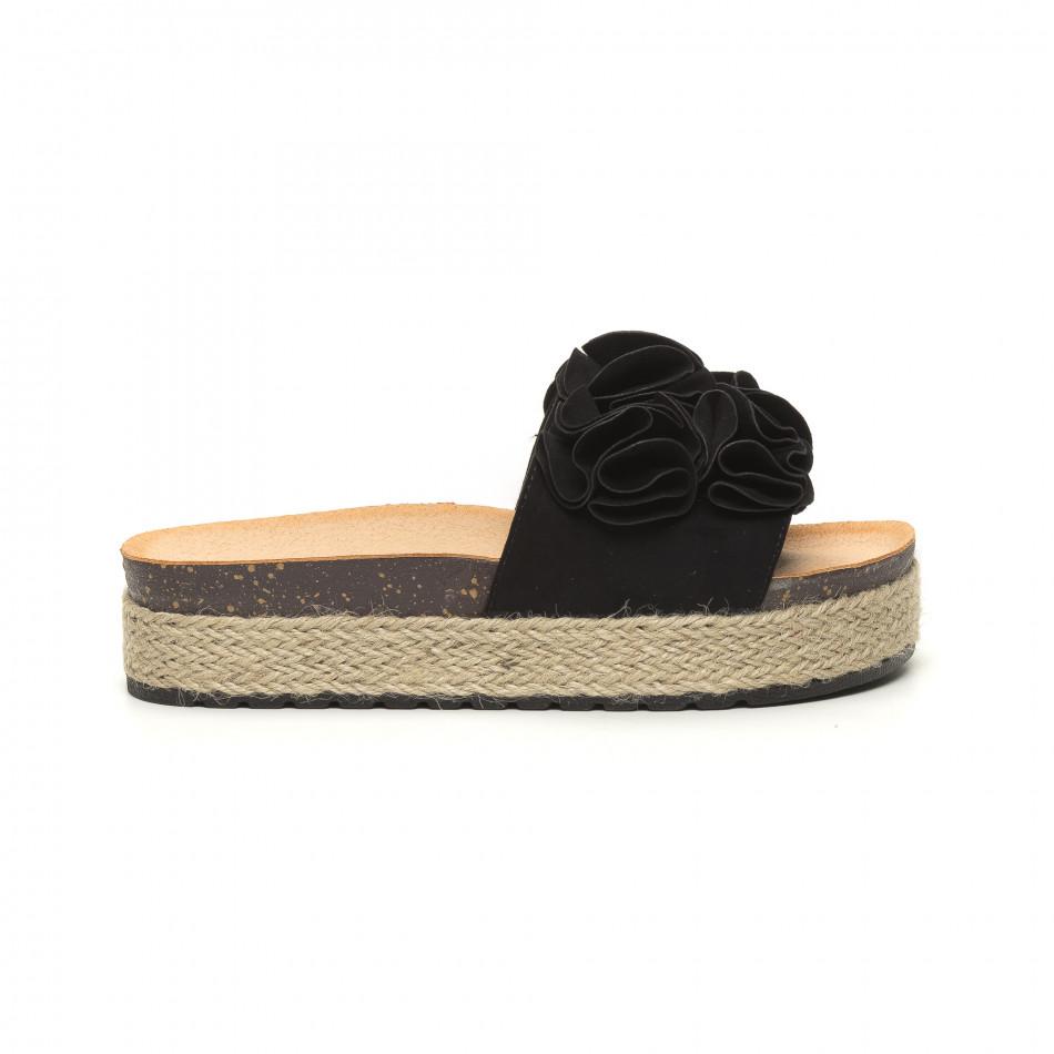 Дамски черни чехли с конопен кант it050619-23
