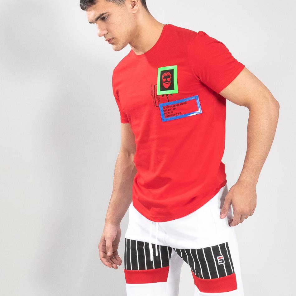 Червена мъжка тениска с гумени рамки it150419-70