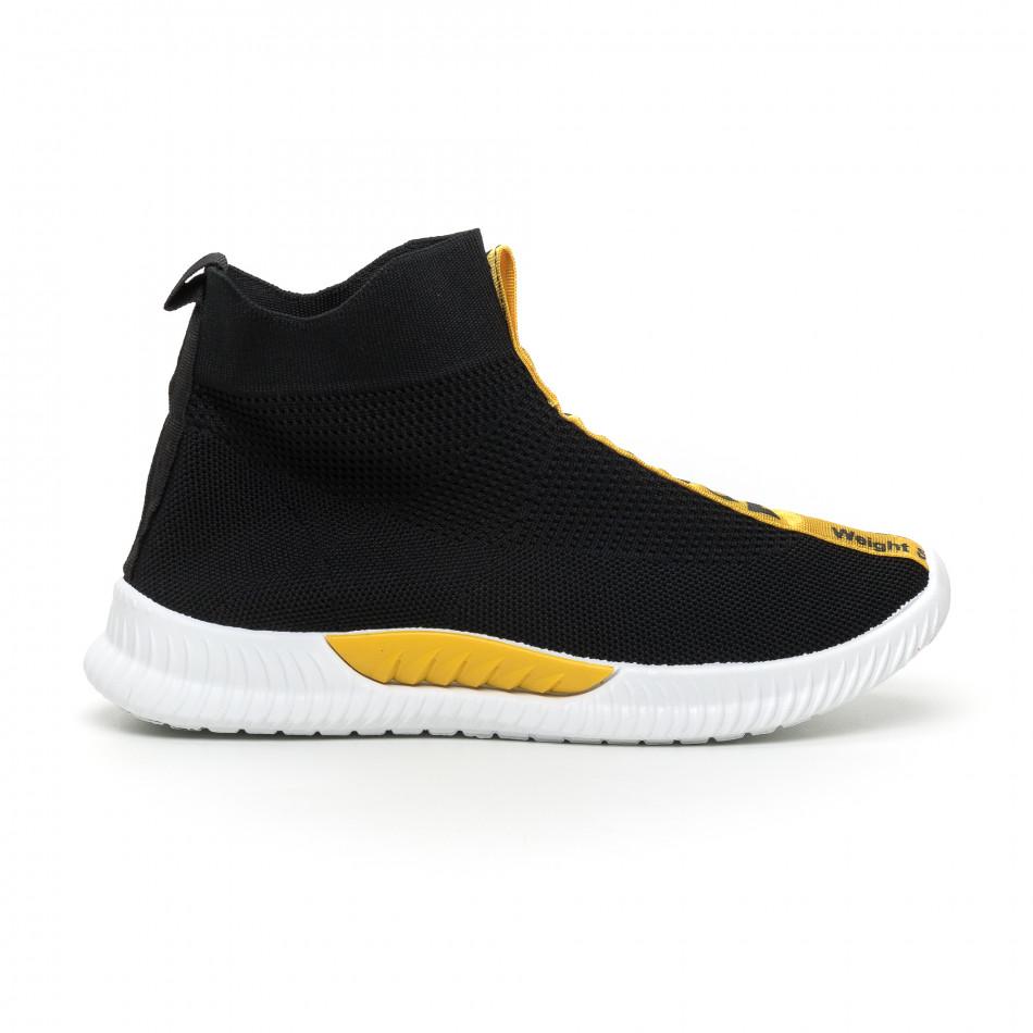 Мъжки slip-on маратонки чорап с жълти надписи в черно it110919-2