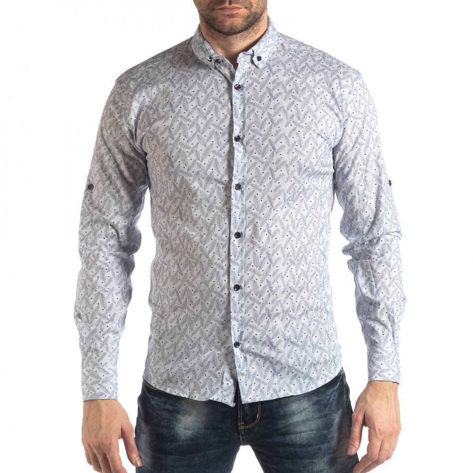 Мъжка Slim fit риза с бял десен it210319-99