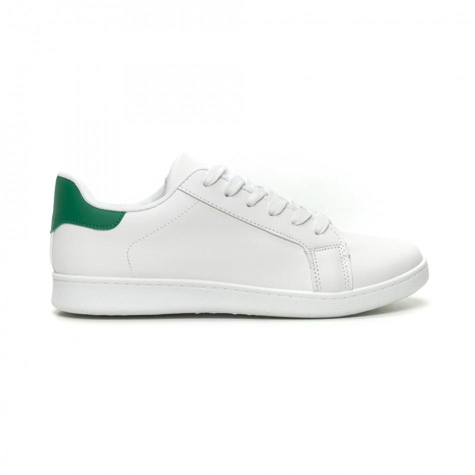 Бели мъжки кецове зелена пета и връзки it040619-1