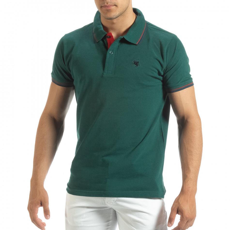 Мъжка тениска polo shirt в зелено it120619-28