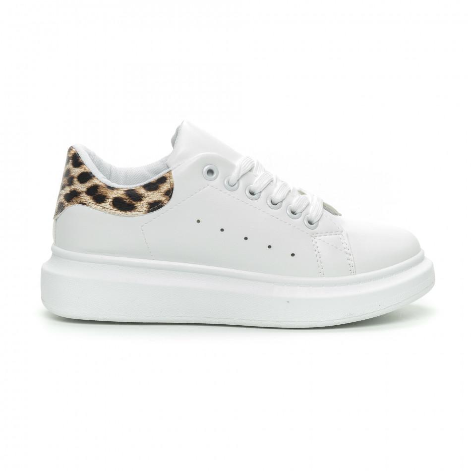 Дамски бели кецове принт пета леопард it150319-45