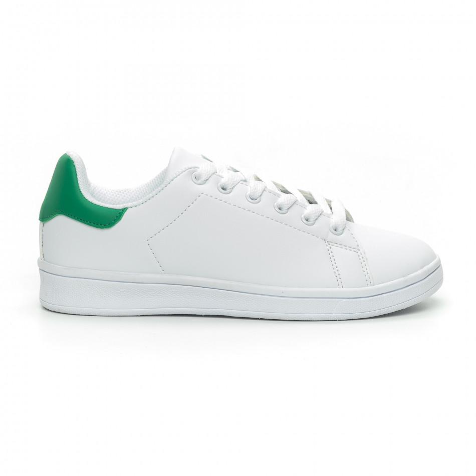 Basic дамски бели кецове зелена пета it150319-56