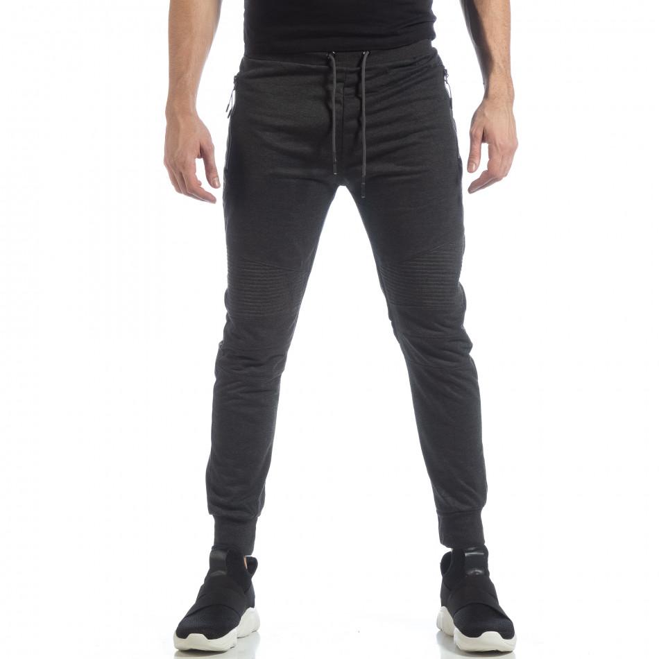 Мъжки джогър тип Biker в тъмно сиво it040219-47